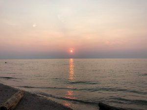 ヒューロン湖夕日